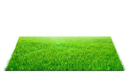 Photo pour Square of green grass field over white background - image libre de droit