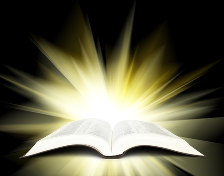 Open Bible with yellow rays of light