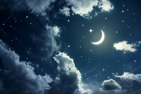 Night sky with stars and moon