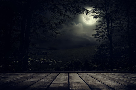 Photo for Night mountains landscape with moon light. Beauty nature background - Royalty Free Image