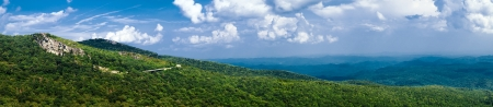 Panorama of stretch of Blue Ridge Parkway near Asheville in Western North Carolina.