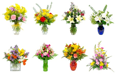 Collage of various colorful flower arrangements centerpieces as bouquets in vases and baskets
