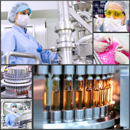 Pharmaceutical Manufacturing Technology. Collage of photographs  presenting pharmaceutical concept.Pharmaceutical industry. Medicine manufacturing.