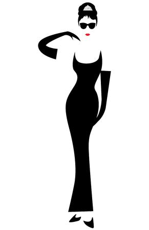 Ilustración de Minimal Audrey silhouette with black glasses, vector portrait isolated - Imagen libre de derechos