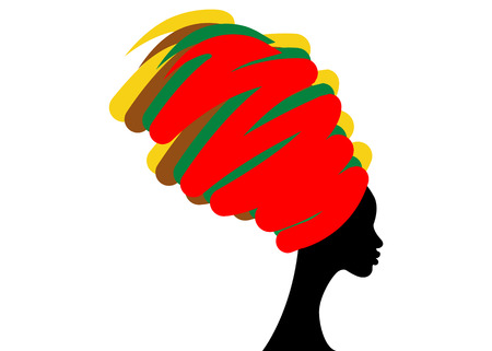 Illustration for portrait beautiful African woman in traditional turban, Kente head wrap African, Traditional dashiki printing, black women vector silhouette isolated , hairstyle concept - Royalty Free Image