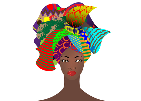 Illustration pour portrait of the young African woman in a colorful turban. Wrap Afro fashion, Ankara, Kente, kitenge, African women dresses with ethnic jewelry. Nigerian style, Ghanaian fashion. Vector isolated  for Print, poster, t-shirt, card - image libre de droit