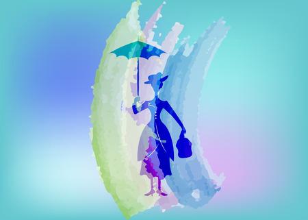 Ilustración de Silhouette girl with umbrella, watercolour style, vector isolated or blue background - Imagen libre de derechos