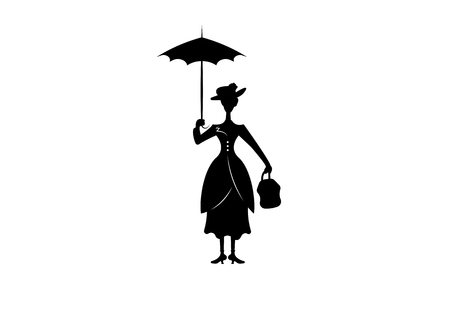 Ilustración de Silhouette girl with umbrella, isolated on white background - Imagen libre de derechos