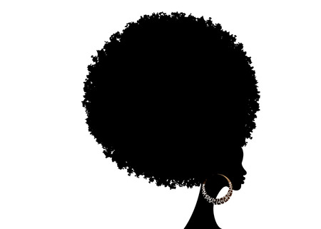 Illustration pour curly afro hair, African American portrait, dark skinned female face with curly hair afro, traditional ethnic earrings and sexy red lips, isolated on white background - image libre de droit