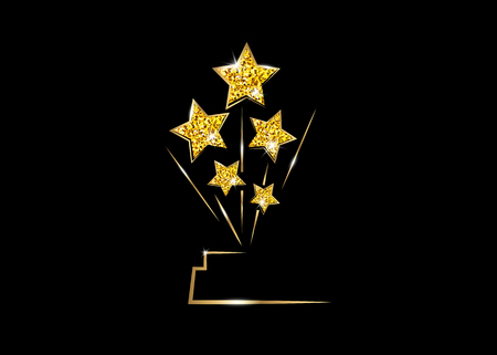 Illustration for HOLLYWOOD Movie PARTY Gold glitter STAR AWARD Statue Prize Giving Ceremony. Golden stars prize concept, Silhouette statue icon. Films and cinema symbol stock, Academy award vector isolated - Royalty Free Image
