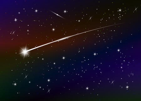 Illustration pour Shooting star background against dark blue starry night sky, vector illustration. Space background. Colorful galaxy with nebula and stars. Abstract futuristic backdrop. Stardust and shining stars - image libre de droit
