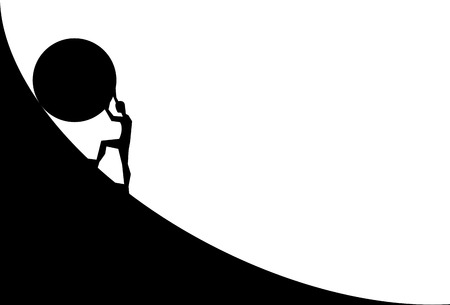man pushing big boulder uphill. Vector cartoon silhouette in flat design isolated on white background