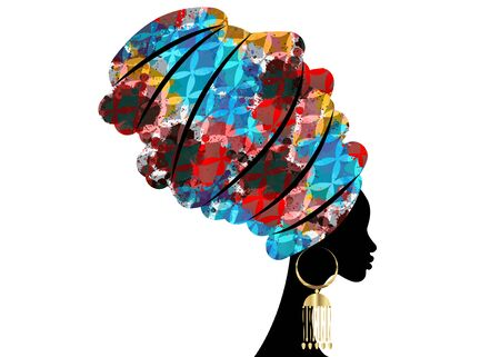 Illustration pour portrait beautiful African woman in traditional turban, Kente head wrap African, Traditional dashiki printing, black women vector silhouette isolated with traditional gold earrings, hairstyle concept - image libre de droit