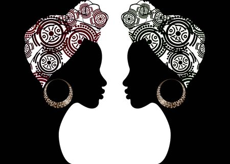 Illustration pour portrait beautiful Afro woman. Shenbolen Ankara Headwrap Women African Traditional Headtie Scarf Turban. Kente head wraps African tribal batik fabric design. Vector women diversity concept background - image libre de droit