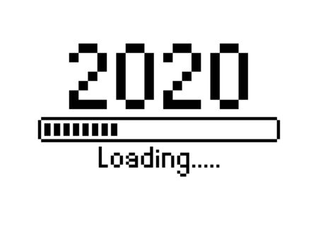 Vektor für Happy new year 2020 with loading icon pixel art bitmap style. Progress bar almost reaching new year's eve. Vector flat design illustration with 2020 loading. Isolated or white background - Lizenzfreies Bild