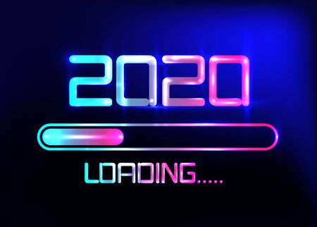 Vektor für Happy new year 2020 with loading icon blue neon style. Progress bar almost reaching new year's eve. Vector illustration with 2020 loading. Isolated or dark light blue background - Lizenzfreies Bild