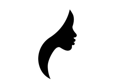Illustration pour African american woman face profile. Women profile silhouette on the white background. Vector illustration isolated - image libre de droit