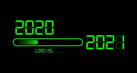 Vektor für Happy new year 2020 with loading to up 2021. Green led neon digital time style. Progress bar almost reaching new year's eve. Vector illustration with display 2021 loading isolated or black background - Lizenzfreies Bild