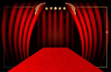Illustration pour red carpet party concept and luxury gold frame, vip background - image libre de droit
