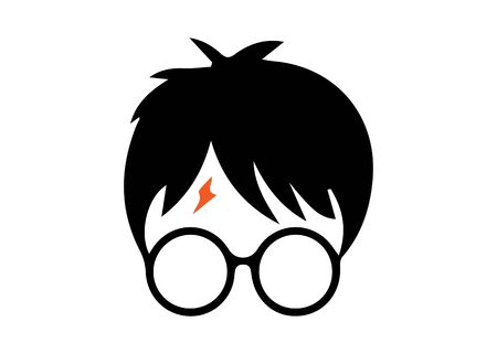 Illustration pour icon of a wizard boy with round glasses, vector isolated - image libre de droit