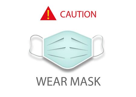 Illustration pour Surgical mask concept icon, coronavirus Covid 19 protection, caution wear mask, vector isolated on white background - image libre de droit