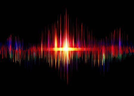 Illustration pour sound wave rhythm background. Spectrum color digital Sound Wave equalizer, technology and earthquake wave concept, design for music industry. Vector isolated on black - image libre de droit