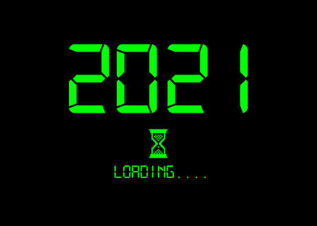 Vektor für Happy new year 2021 with loading icon green neon digital style. Progress bar almost reaching new year's eve. Green Vector flat design 2021 loading pixel hourglass cursor. Isolated or black background - Lizenzfreies Bild
