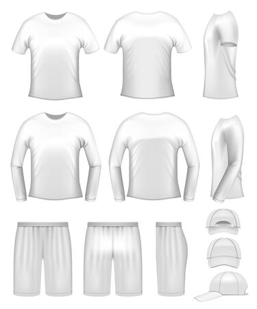 White men's clothing templates - t-shirts, caps and shorts
