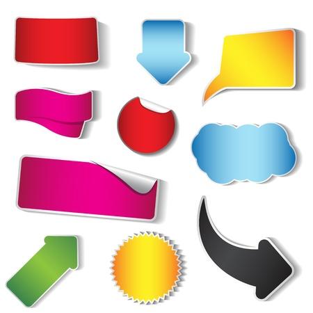 Illustration pour Vector sticker and tag collection, set of 10 pieces - image libre de droit