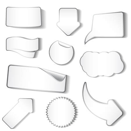 Set of white stickers and tags
