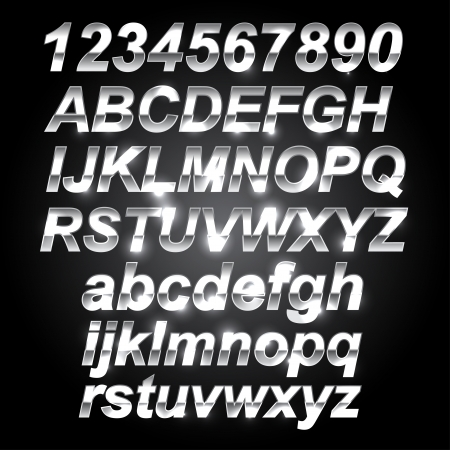 Silver Metal Font Letters and Numbers