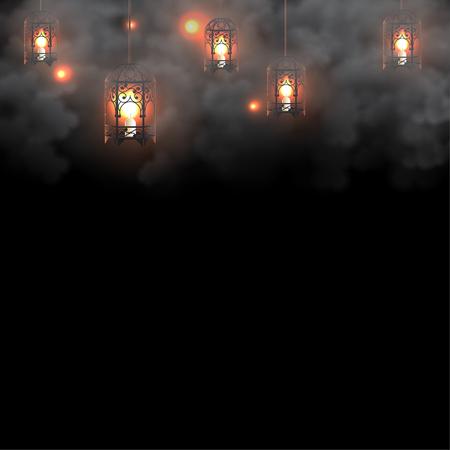 Illustration pour Ramadan lanterns with candles on dark background - image libre de droit