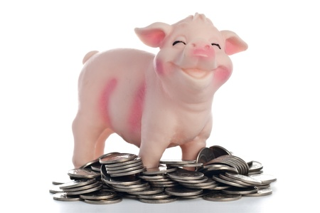 One piggy bank over white background in a pile of coins