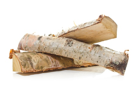 Logs of birch fire wood over white background