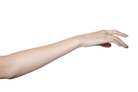 Photo pour beautiful female hand and arm isolated on white - image libre de droit