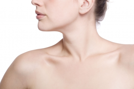 closeup shot of neck and shoulder of a beautiful girlの写真素材