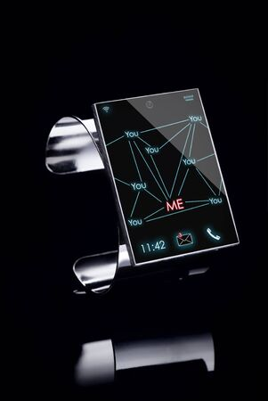 modern Internet Smart Watch on a black background  --  All Texts, Icons, Computer Interfaces where created from scratch by myself の写真素材