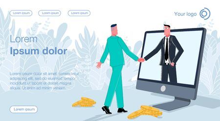 Ilustración de Two businessmen shaking hands to each other, a man in a black suit comes out of the monitor. Business vector concept illustration. - Imagen libre de derechos