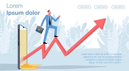 Ilustración de Online earnings. Businessman climbs the arrow of the graph that comes out of the phone screen. Business vector concept illustration. - Imagen libre de derechos