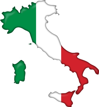flag and map Italy