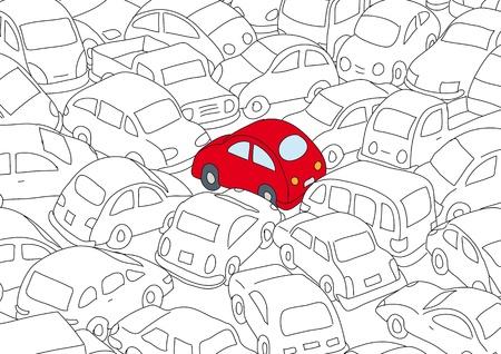 Illustration pour Car traffic jam - image libre de droit