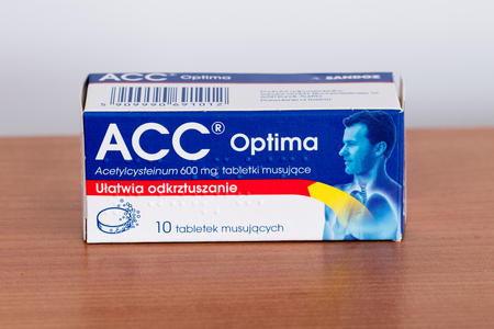 Pruszcz Gdanski, Poland - February 2, 2019: ACC Optima acetylcysteinum 600 mg tablets.