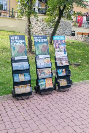 Wieliczka, Poland - July 27, 2019: Religious magazines of Jehovah's Witnesses.