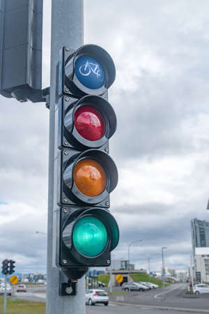 Photo for Green traffic light for bicycles in Iceland. - Royalty Free Image