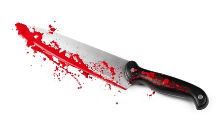 A blood covered knife isolated on white