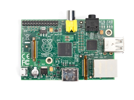 Taipei, Taiwan - January 10, 2013: This is a studio shot of a Raspberry Pi circuit board isolated on white.