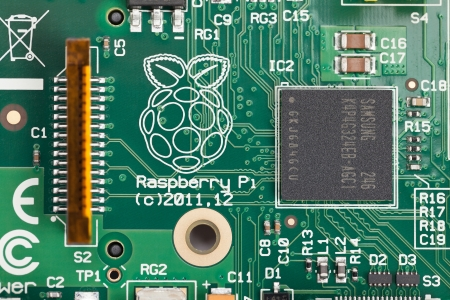Taipei, Taiwan - January 10, 2013: This is a studio close-up overhead shot of a Raspberry Pi circuit board.