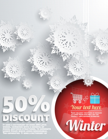 Merry Christmas Background Discount Percent with Snowflake and Ball