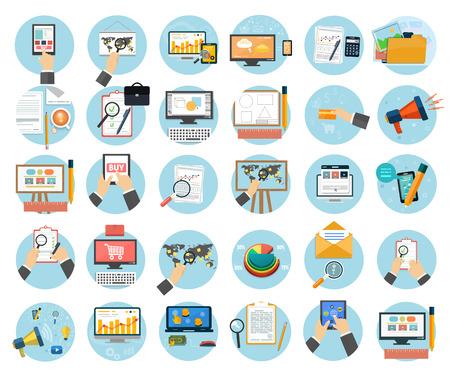 Foto de Web design objects, business, office and marketing items icons. - Imagen libre de derechos