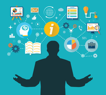 Business man and colorful icons. Businessman with touch screen icons. Winner in business administration and management time